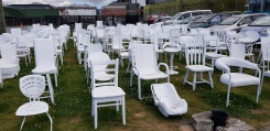 185 White Chairs -Memorial for lives lost in earthquake