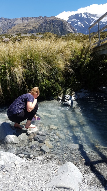 Refilling with glacial water