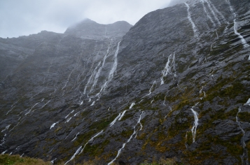 Waterfalls on the drive into Milford Sounds