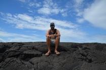Kadin on the lava rock