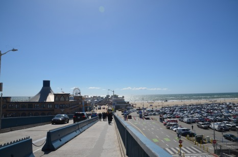 Walking down to the busy pier