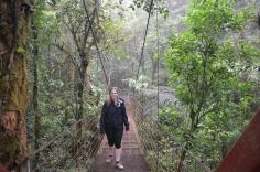 Crossing the swing bridge
