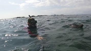 Kadin swimming with the iguana