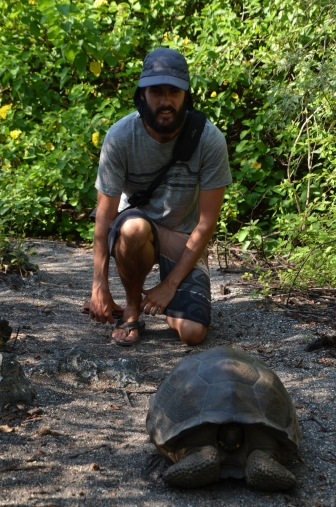 Kadin with the baby Galapagos Tortoise