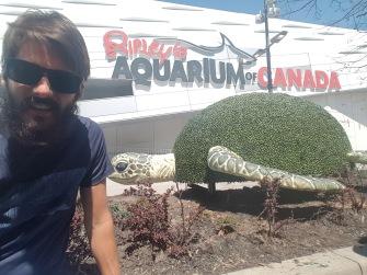 Kadin's Selfie with the Tutrle outside the aquarium