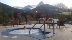 Gemma enjoying the mountains from the hot tub