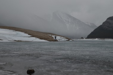 Kadin on the other side of the frozen lake