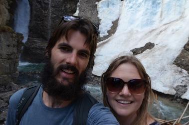 Frozen waterfall selfie
