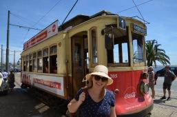 Gemma getting off the tram