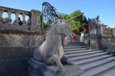 Unicorn statue by the steps