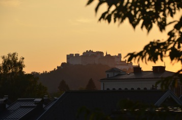 Castle by sunset view