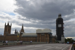 Looking back at Big Ben and Westminster