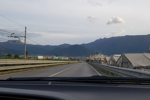 Driving towards the mountains