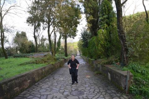 Walking steep path to Monastery