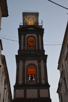 Glowing clock tower