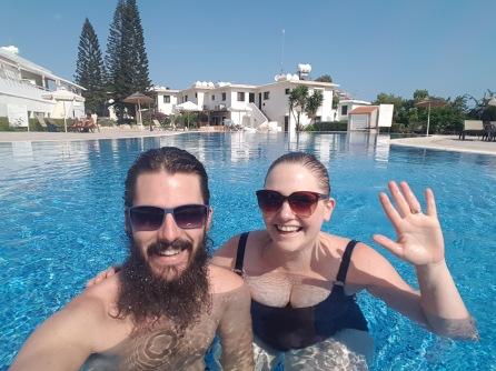 Swimming pool selfie