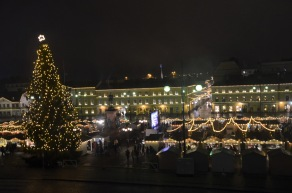 Christmas market by night