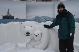 Polar bear ice sculpture