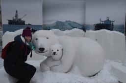 Polar bear sculpture and Gemma